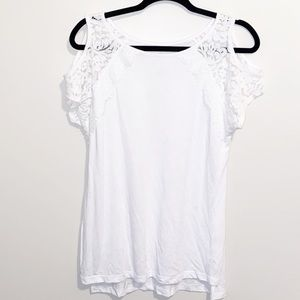 White cold shoulder top with lace detail Medium